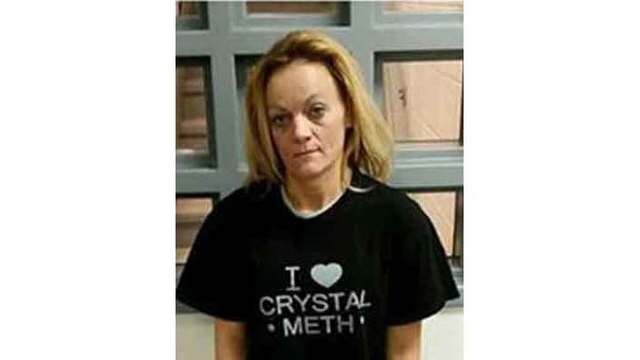 Woman wearing 'I love crystal meth' T-shirt arrested for drugs