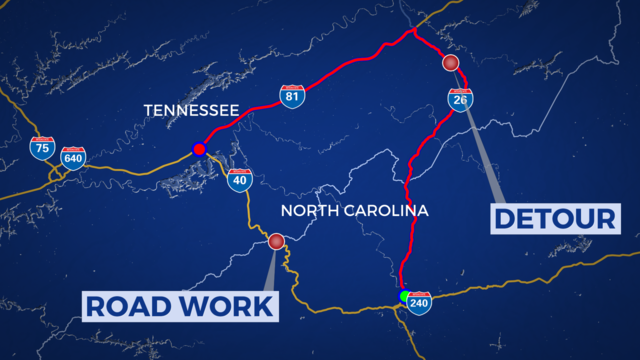 Road work on I40 just across North Carolina line expected to