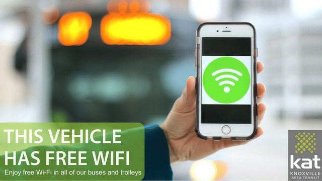 Knoxville Area Transit offers free Wi-Fi on all buses, trolleys
