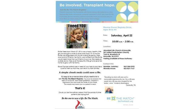 Bone marrow donation drive in Knoxville Saturday