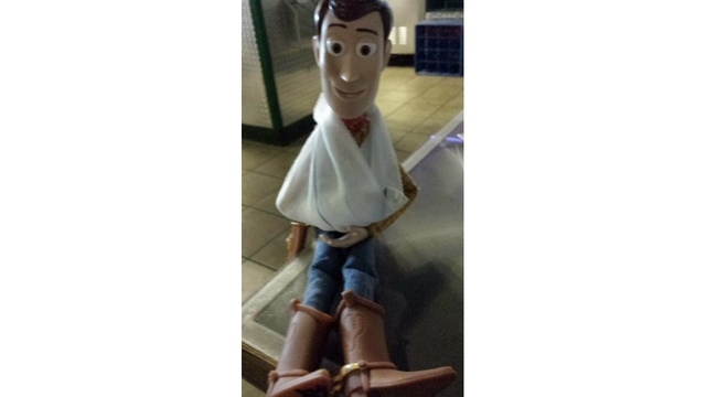 Woody in a sling
