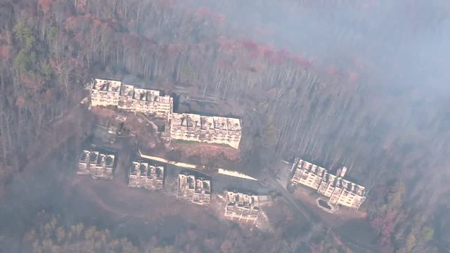 Aerial video of Gatlinburg fire damage