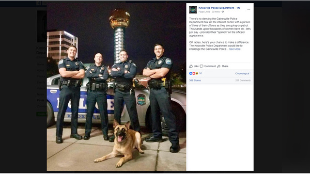 Knoxville police issue fundraising challenge to Gainesville police after viral photo