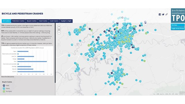 Interactive map shows where in Knoxville accidents involving