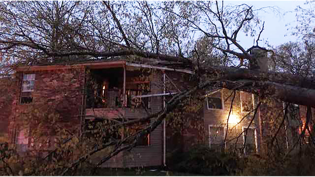 Massive tree falls on building trapping mother & young child in Middle Tennessee